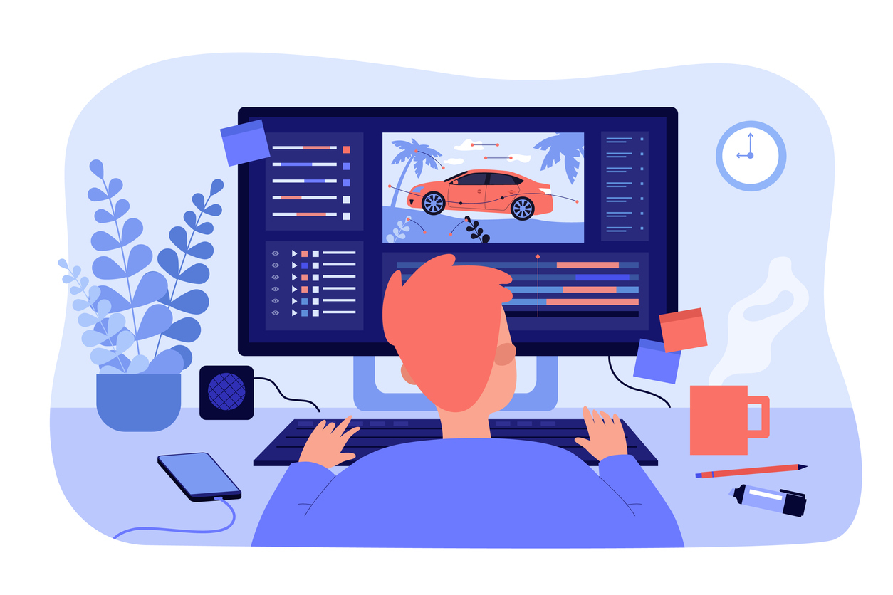Un dessin d'un homme devant son ordinateur